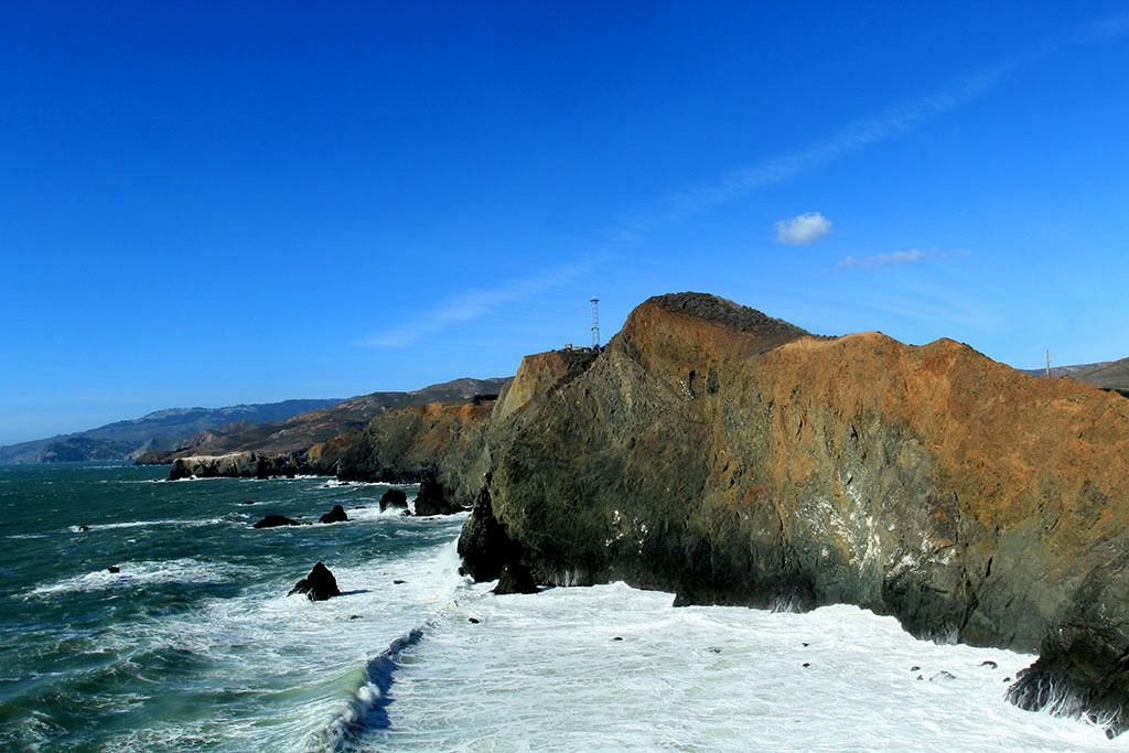 Vista da praia do farol de Point Reys