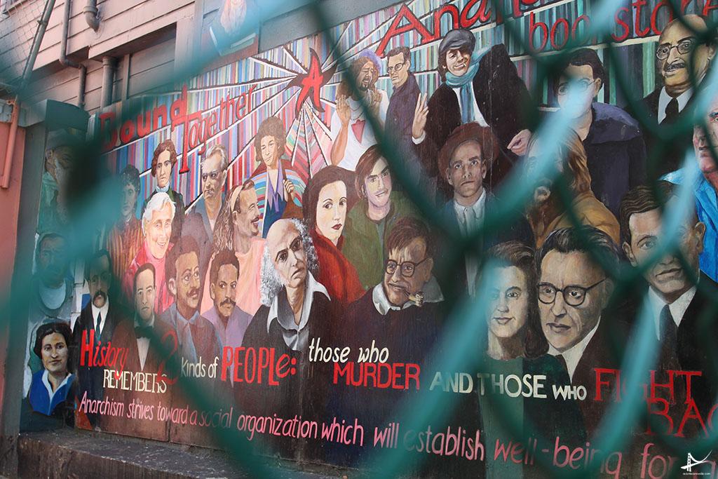 Manifestacoes nos murais da Haight