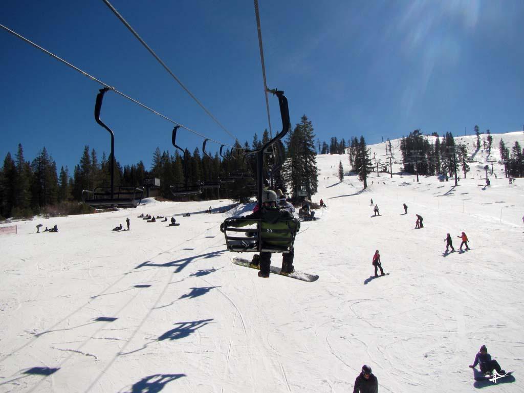 Subindo o lift em Tahoe