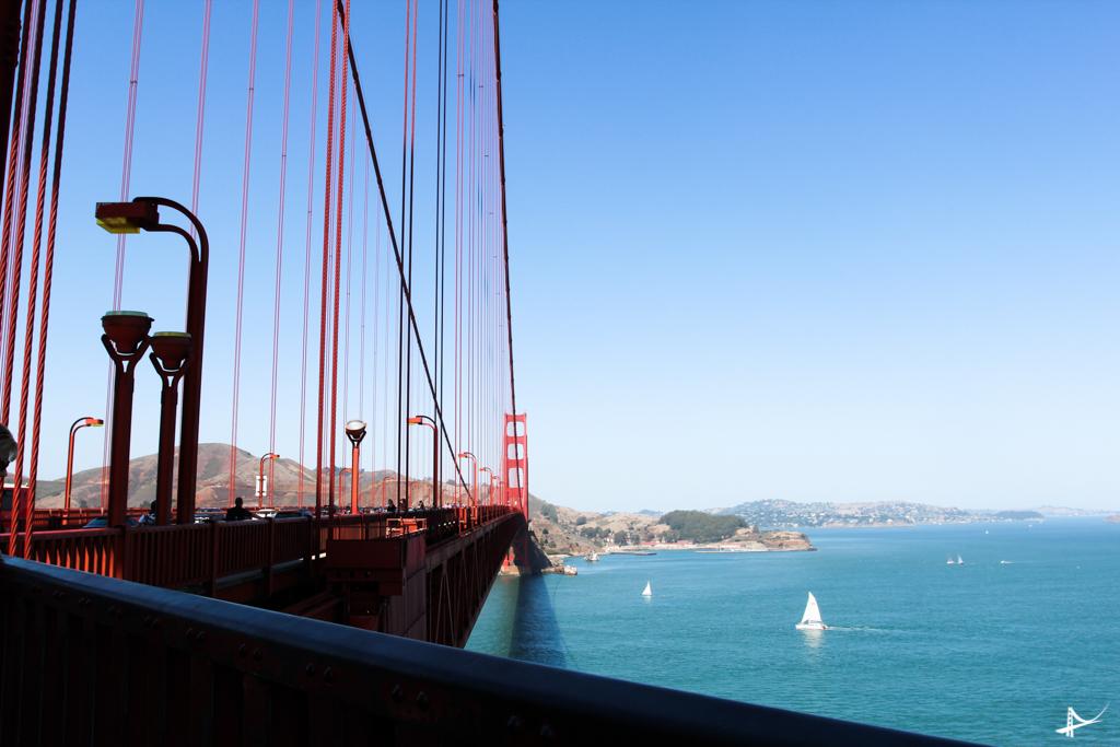 Entrando de bike na Golden Gate